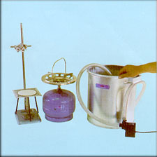Cooling System, Butae Field Heater, Bunsen Burner,  Statif, Tripod Stand, Asbestos Wire Gauze